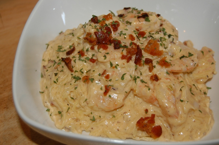 Bacon-Shrimp Alfredo